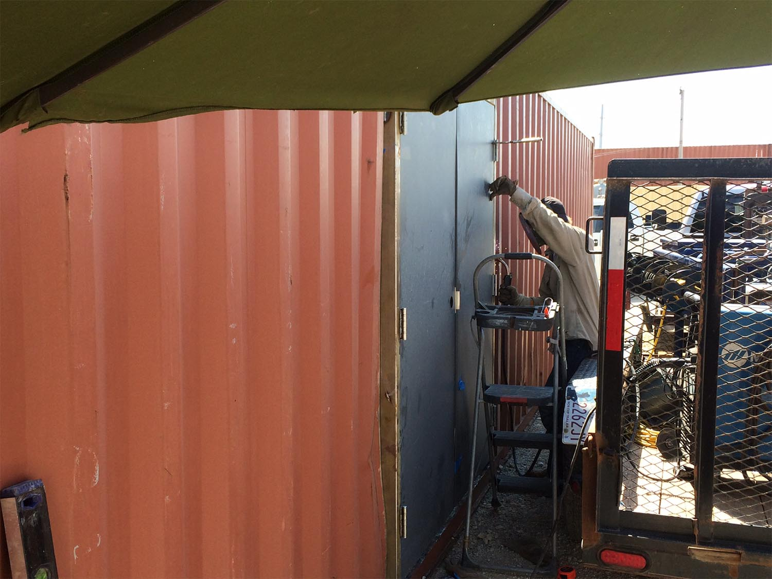 installing doors on a shipping container