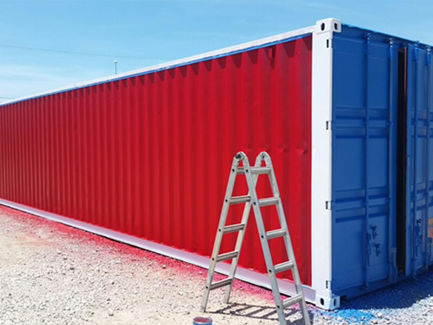 Red white and blue shipping container