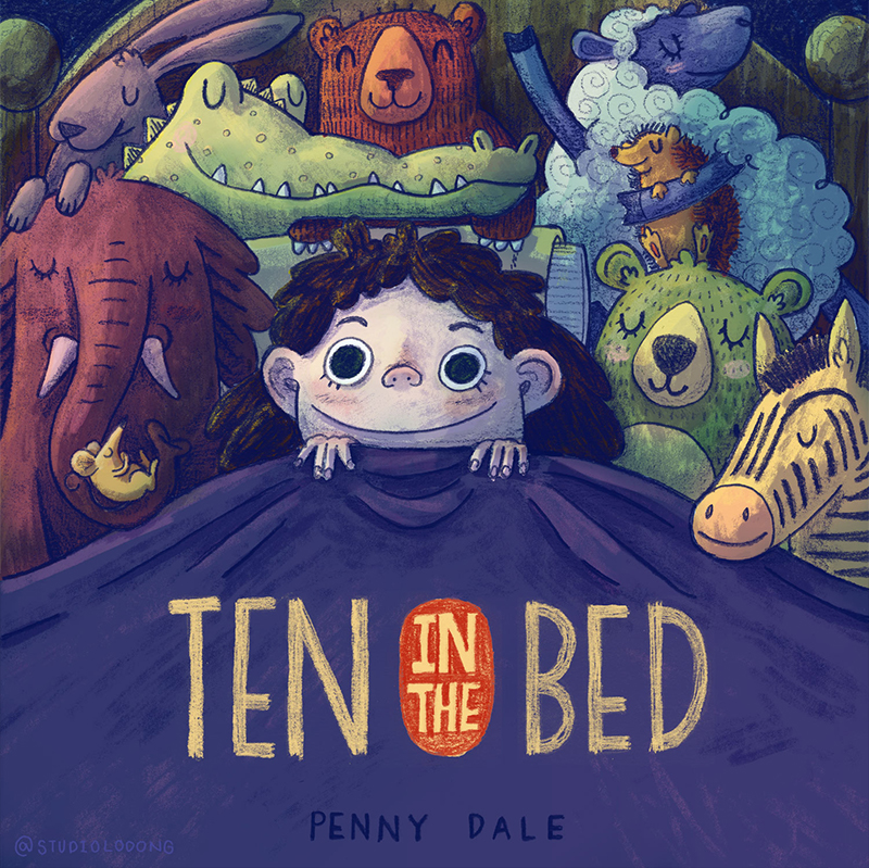 whimsical children's illustration ten in the bed