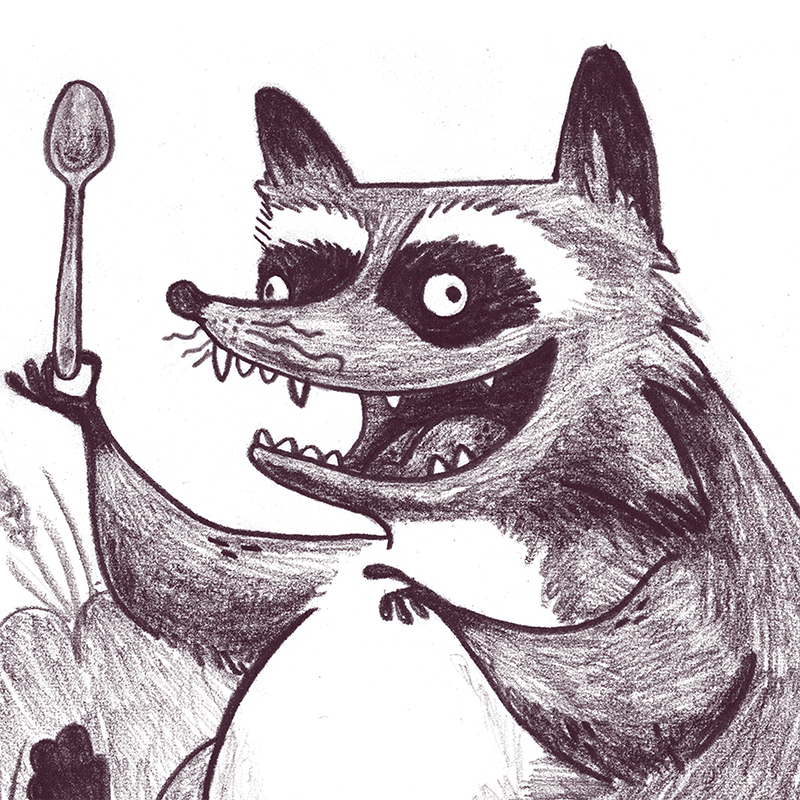 whimsical children's illustration of a raccoon with a spoon