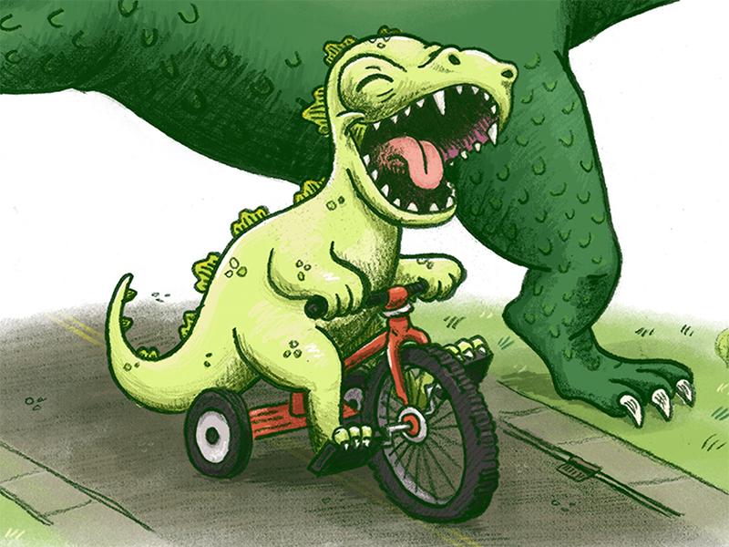 children's illustration of Godzilla and son