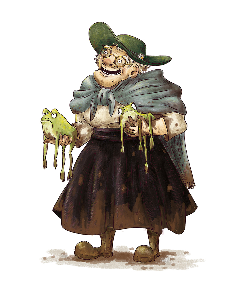 children's illustration of an old lady holding two frogs