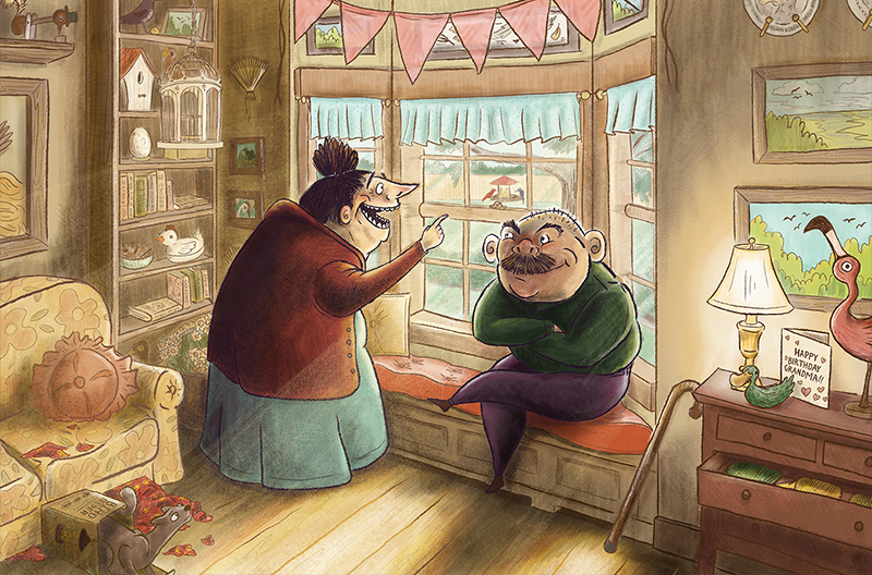 illustration of an older couple looking out the bay window at the birds