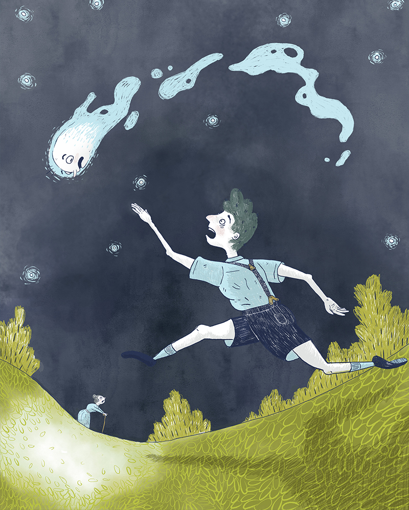 children's illustration of howls moving castle chasing a falling star