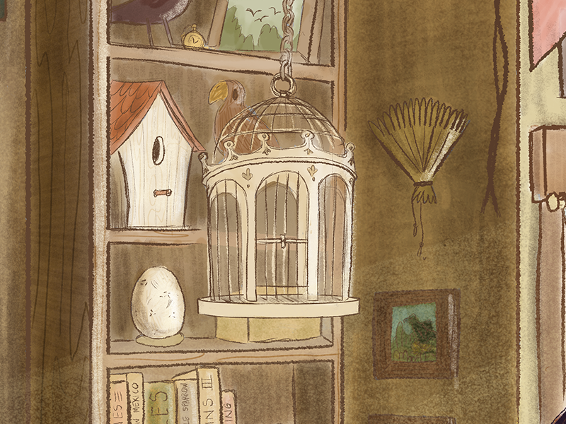 close up of bird cage and shelf in the background