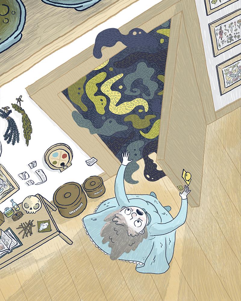 children's illustration of howls moving castle opeing the door on black