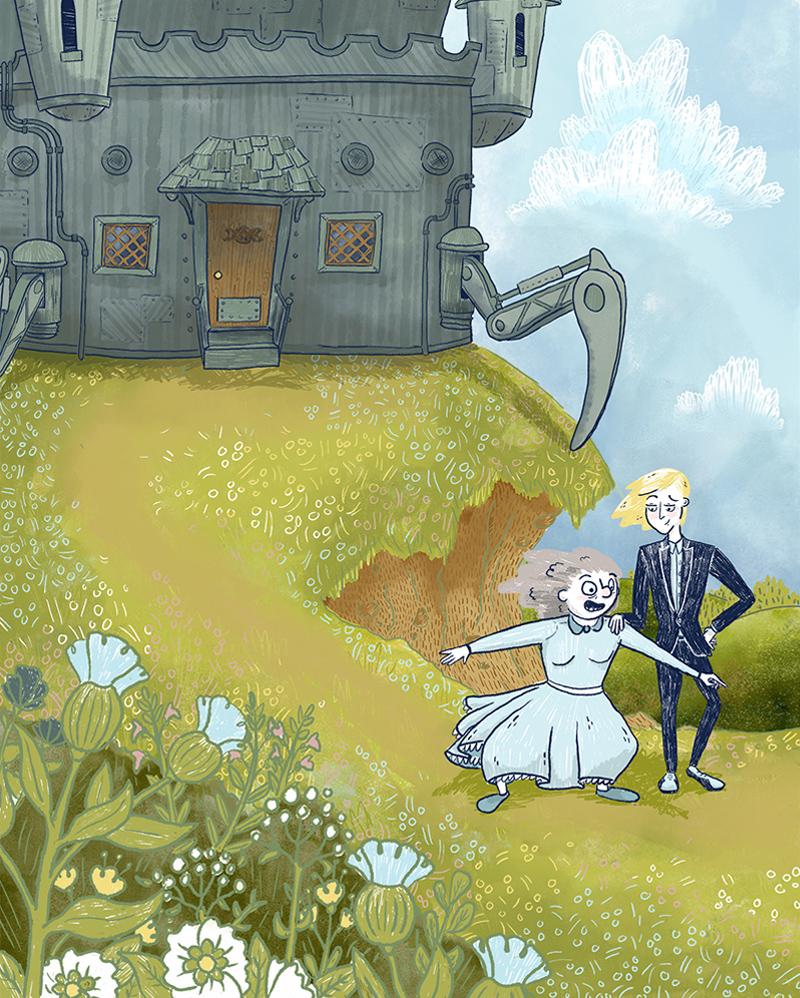 children's illustration of howls moving castle sophie's flower meadow