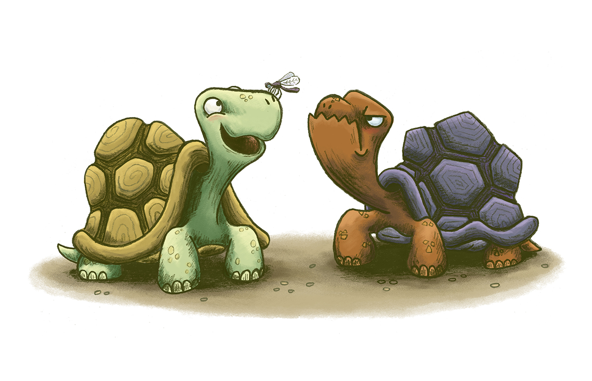 whimsical children's illustration of an angry turtle looking at a happy turtle with a bug on its nose