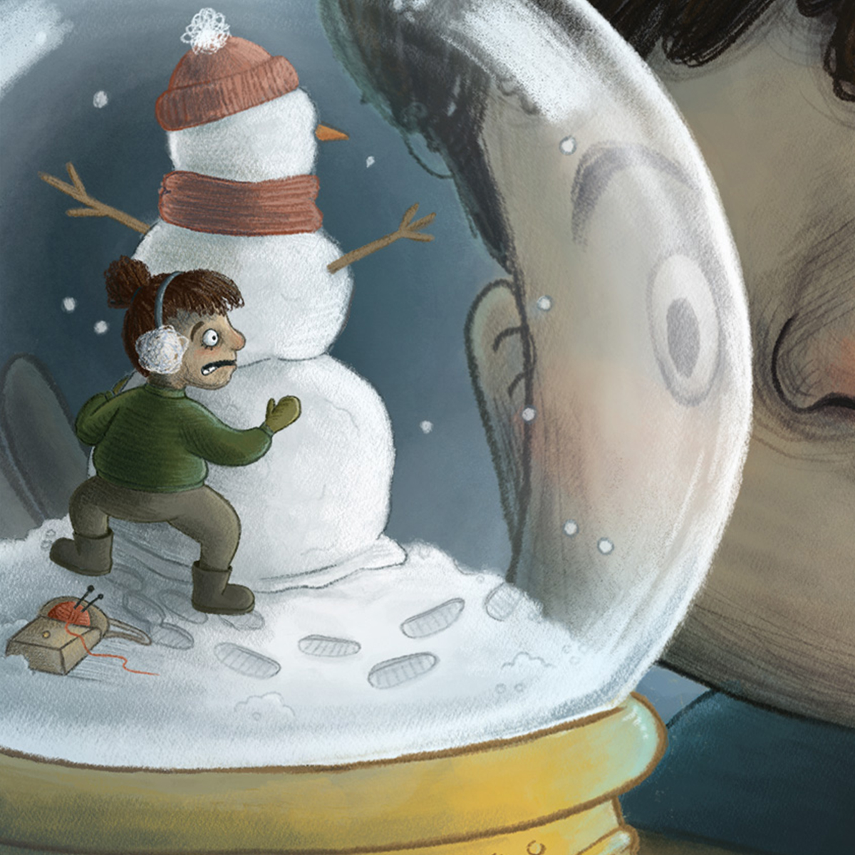 children's illustration of a boy looking into a snow globe while a tiny girl tries to hide inside