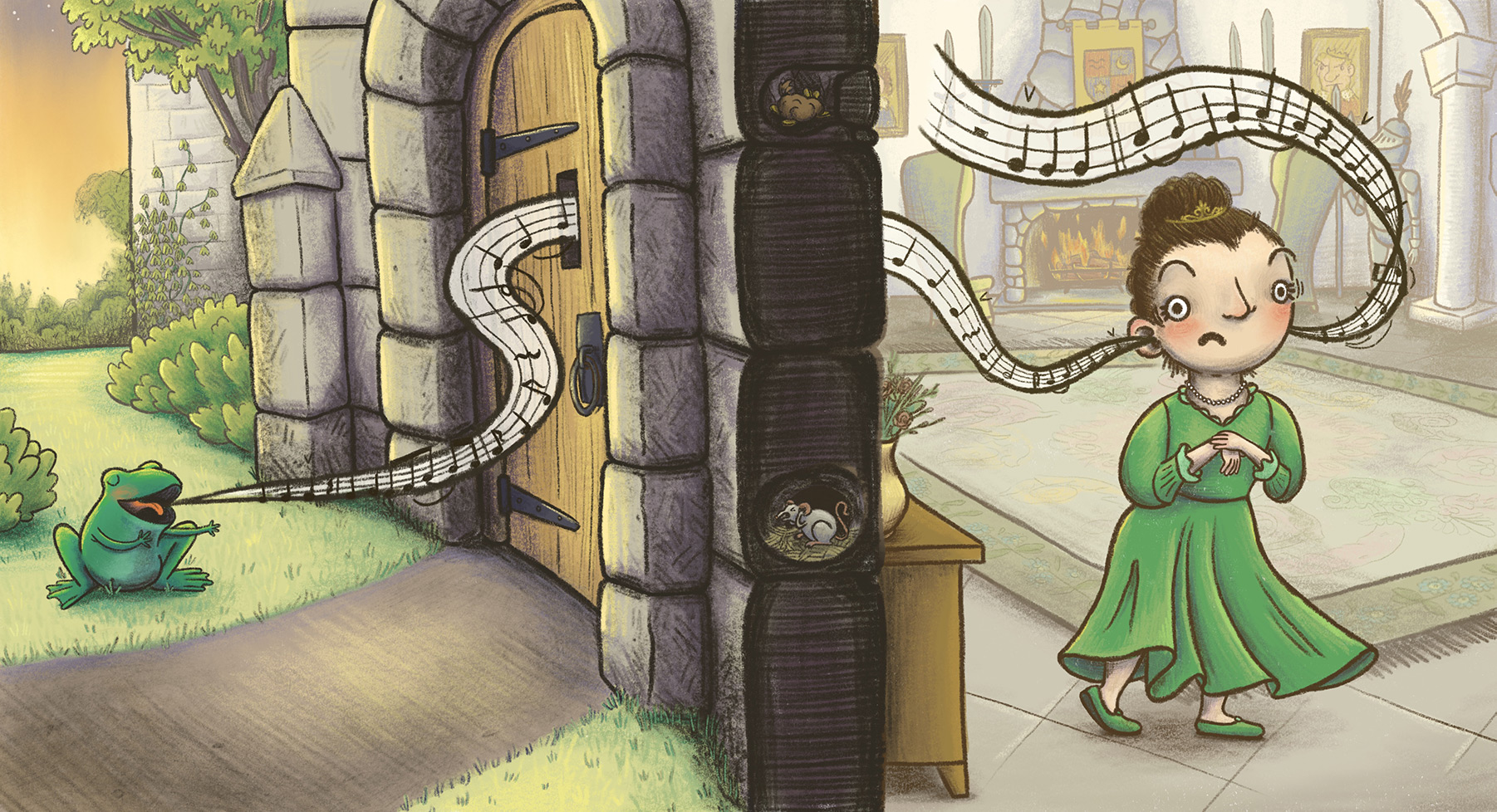 whimsical children's illustration of the frog prince singing to the princess in her castle