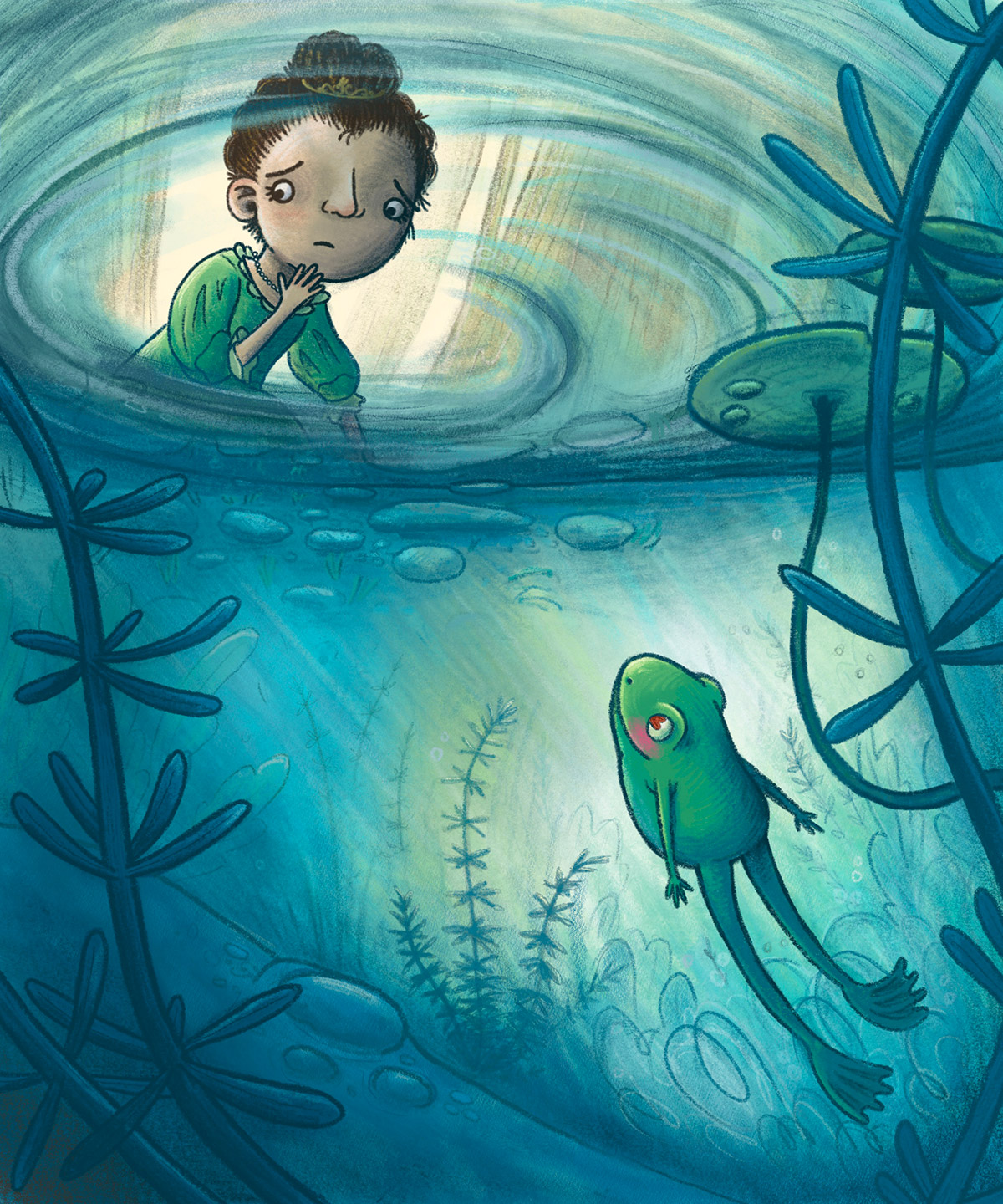 whimsical children's illustration of a princess looking into a pond with a frog in it