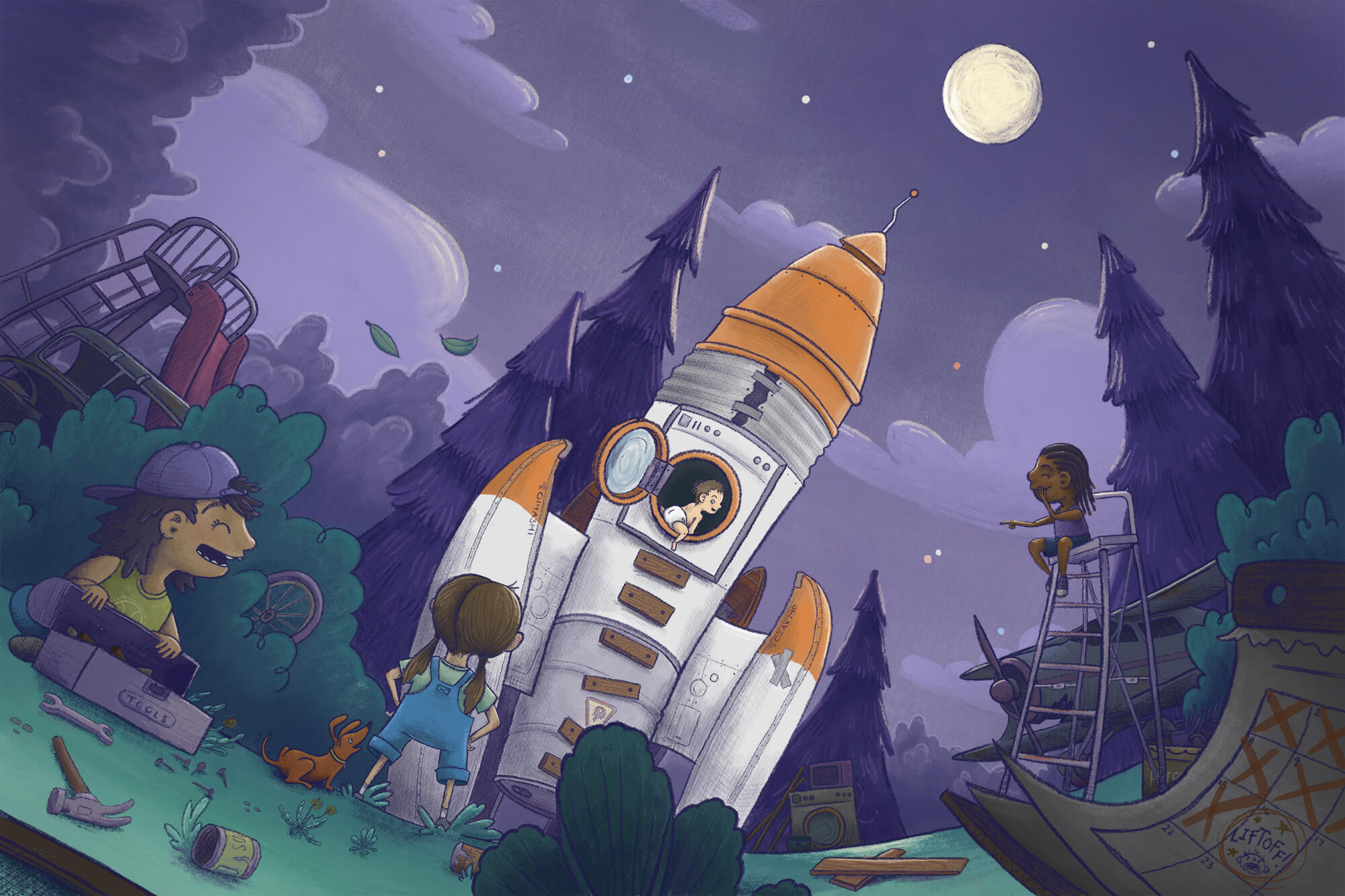 whimsical children's illustration of children constructing a rocket out of junk