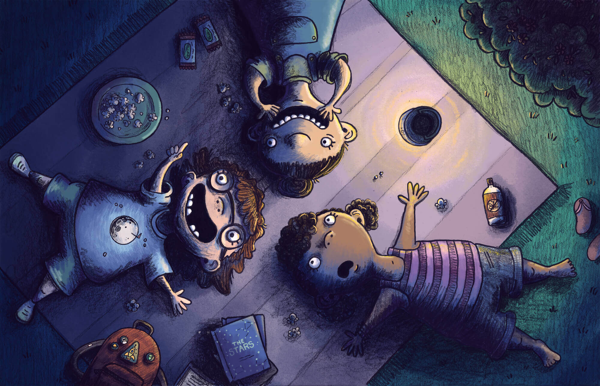 whimsical children's illustration of three girls looking at the stars