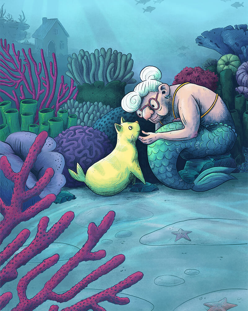whymsical children's illustration of a granny mermaid sitting in an underwater coral reef garden with a catfish