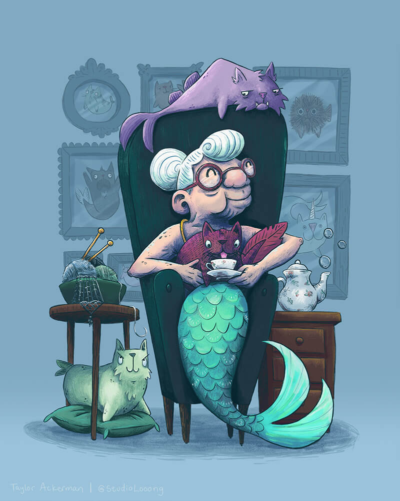whymsical children's illustration of a granny mermaid surrounded by her pet catfish
