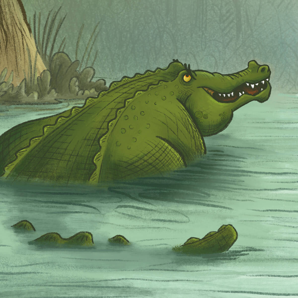 whimsical children's illustration of an alligator in the water