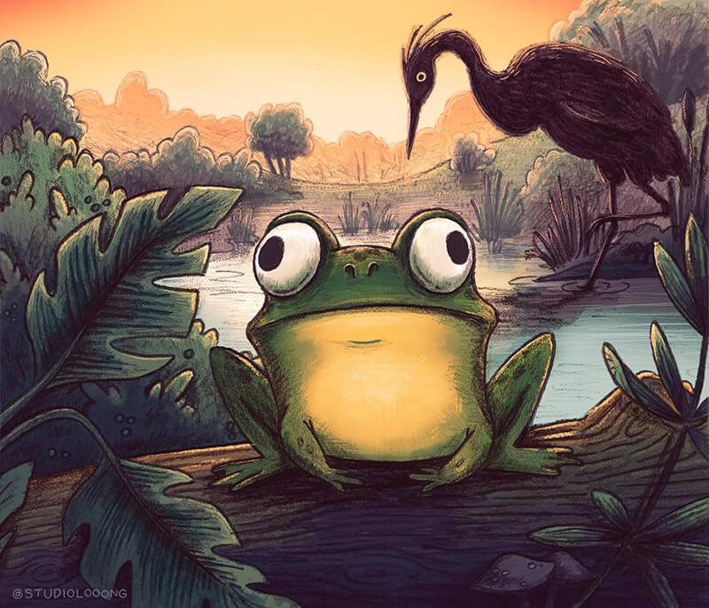 whimsical children's illustration of a frog