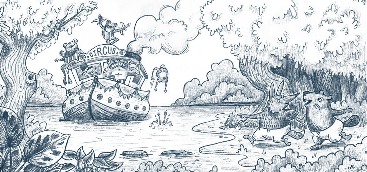 original pencil drawing of a fox and beaver running to meet a tugboat full of circus frogs