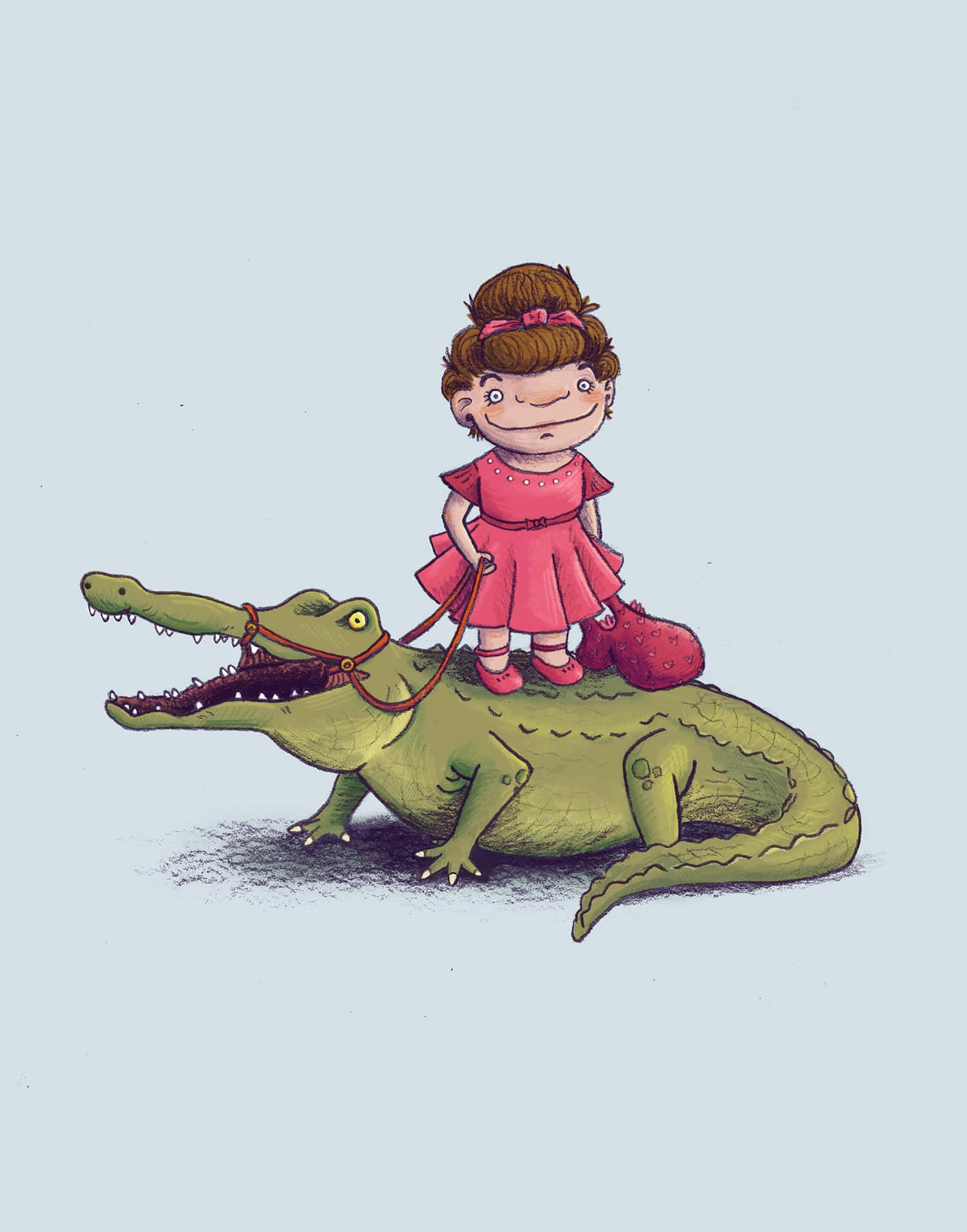 whimsical children's illustration of a child dancer and her pet alligator