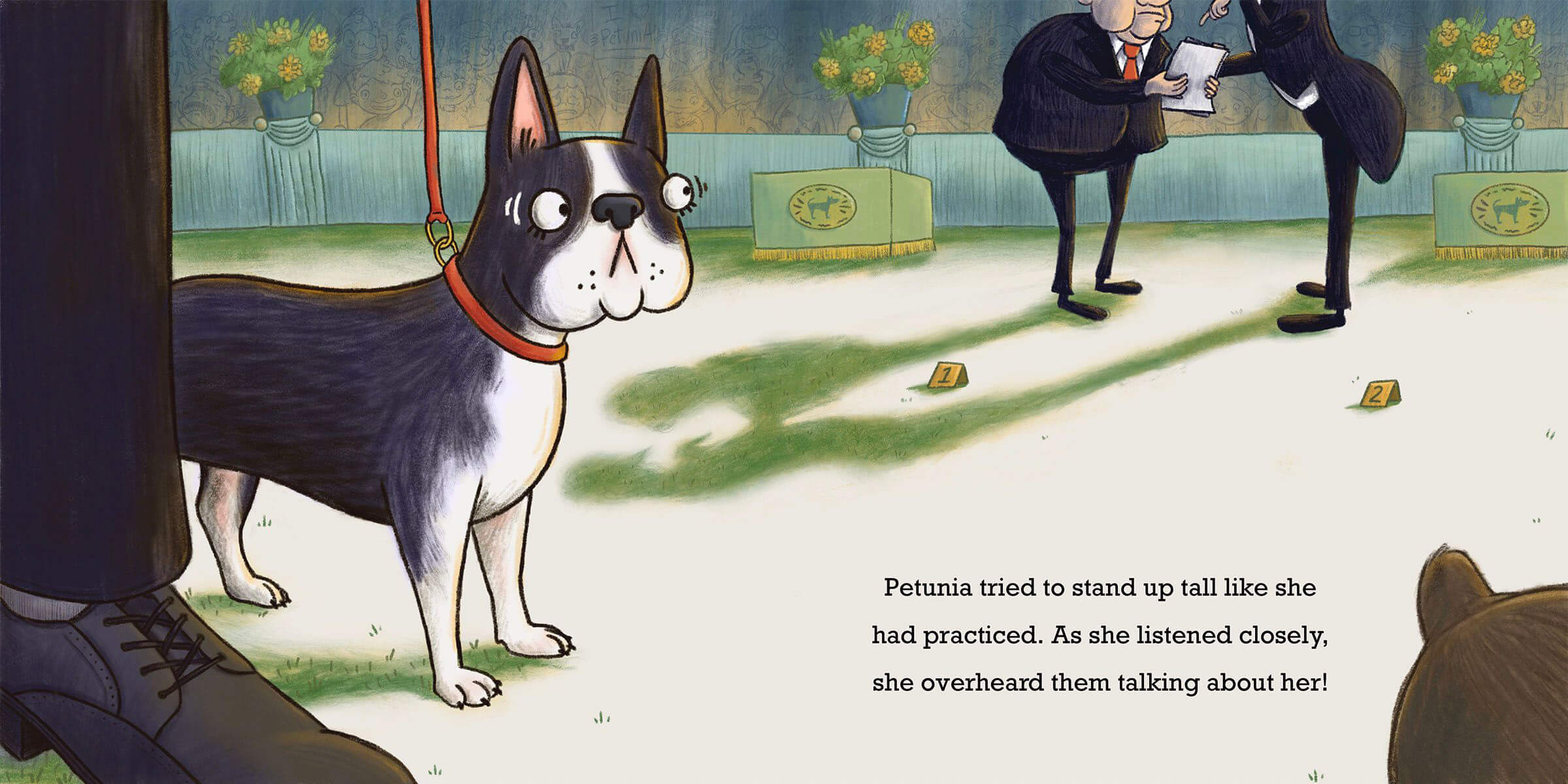 whimsical children's illustration of a nervous dog being judged in the show ring
