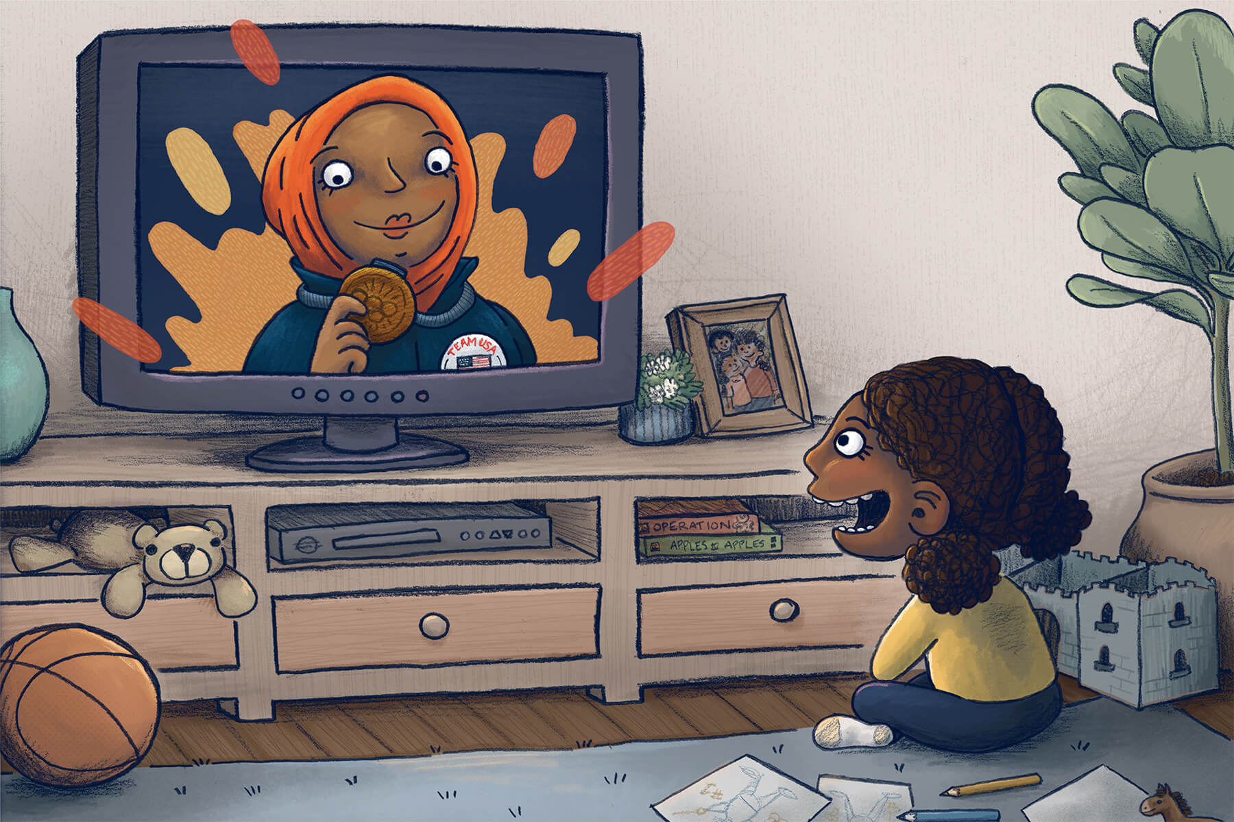 Children's illustration of olympic fencer Ibtihaj Muhammad serving as a role model for young girls