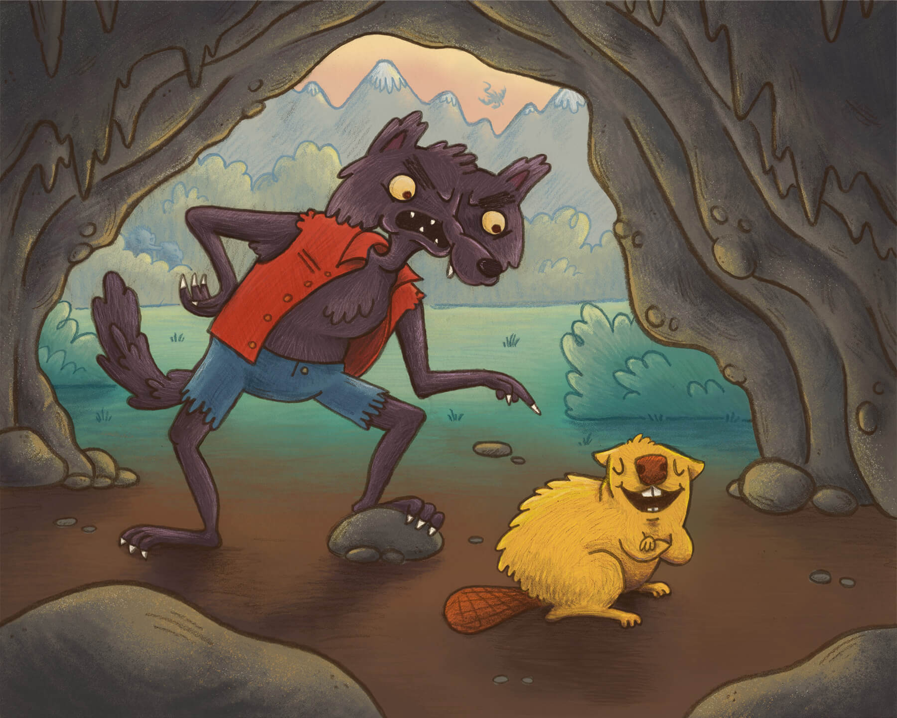 whimsical children's illustration of a brave beaver laughing at a werwolf