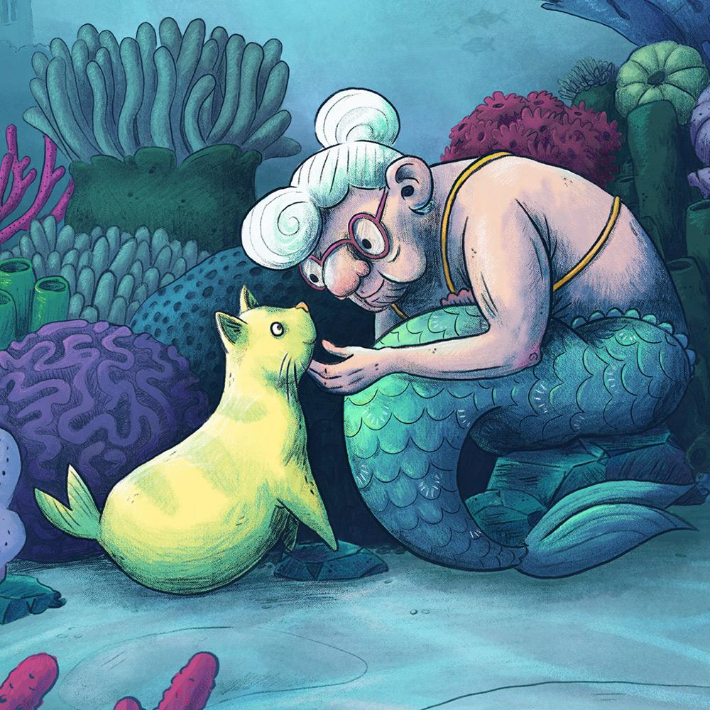 magic mermaid underwater cat pets granny children's book illustration champaign Illinois midwest