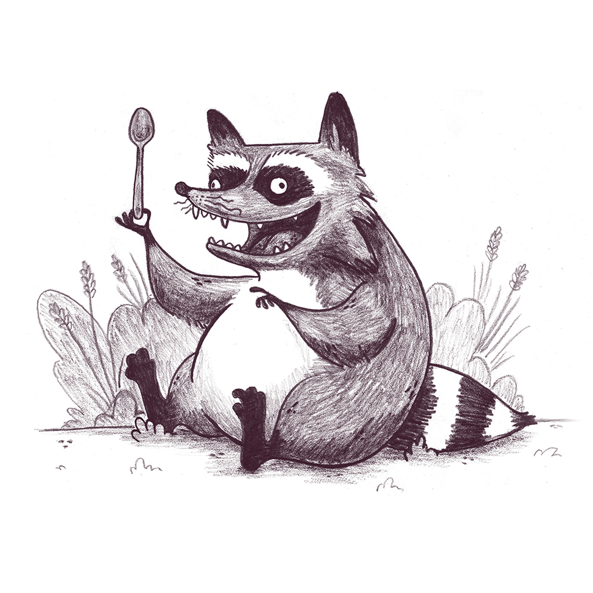 raccoon with spoon character design children's book illustration champaign Illinois midwest
