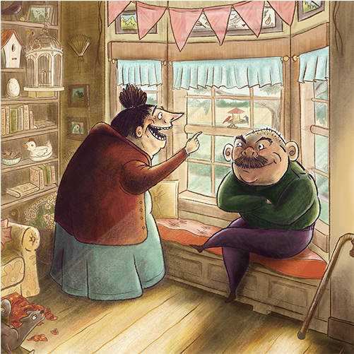 old couple bird lovers children's book illustration champaign Illinois midwest