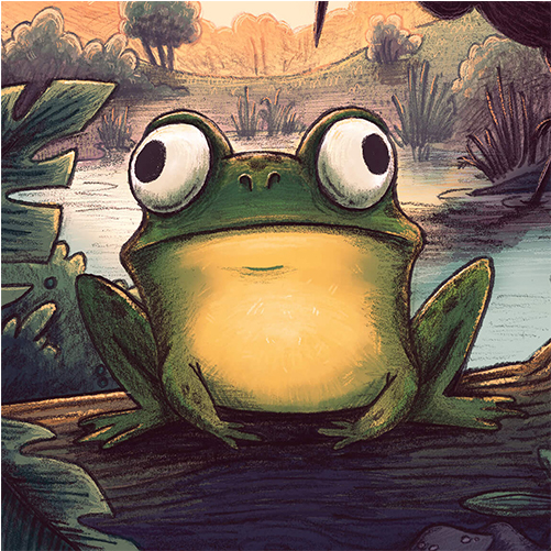 frog and heron pond nature children's book illustration champaign Illinois midwest