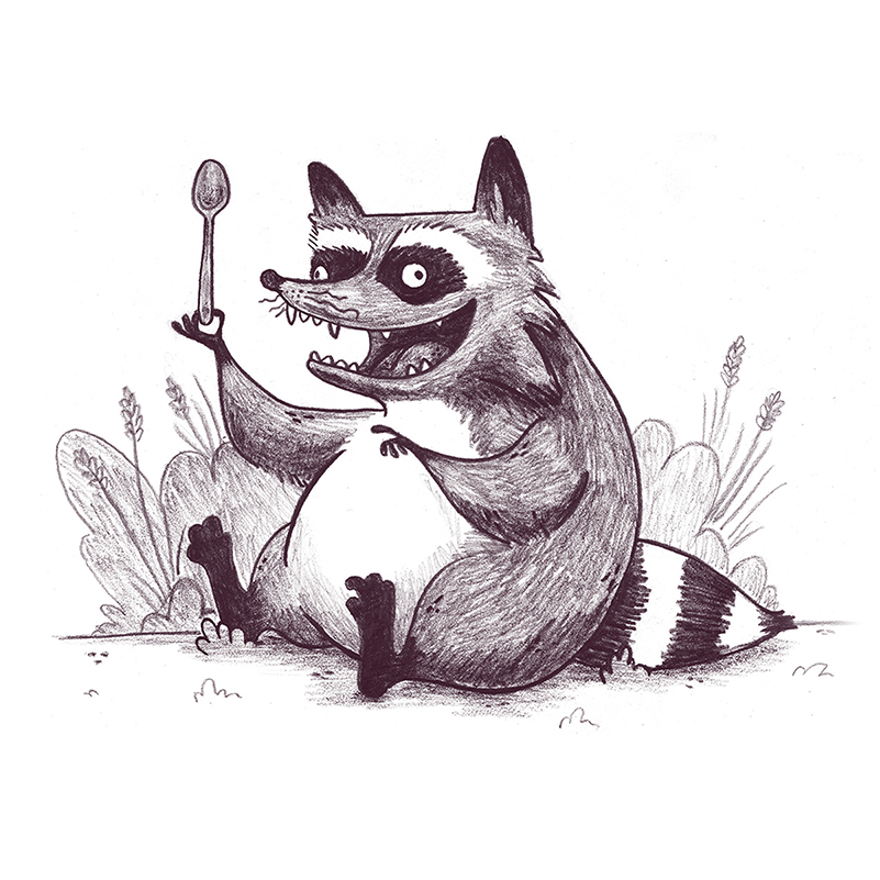 raccoon with a spoon black and white children's book illustration champaign Illinois midwest