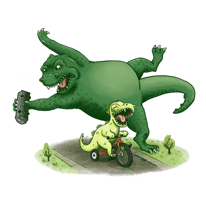 godzilla parenthood trouble monster children's book illustration champaign Illinois midwest