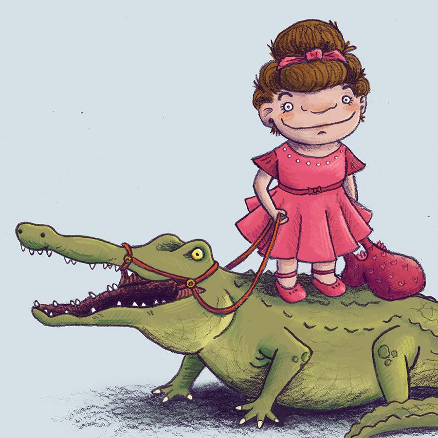 girl crocodile alligator dance humor children's book illustration champaign Illinois midwest
