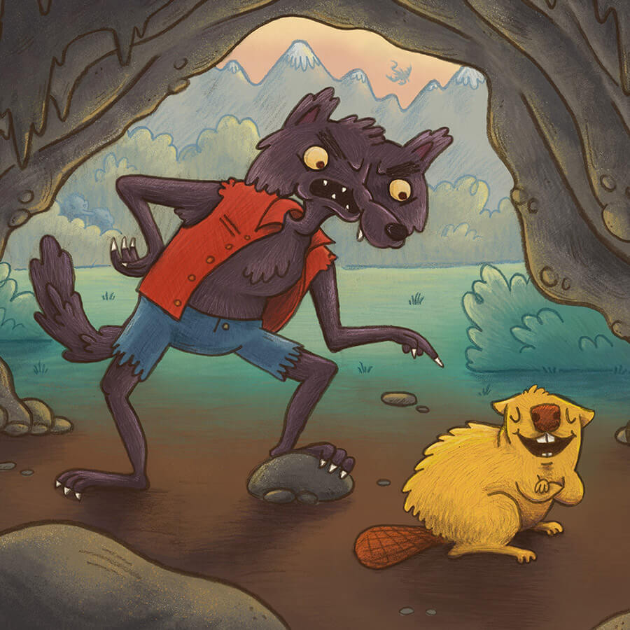 werwolf and beaver children's book illustration champaign Illinois midwest