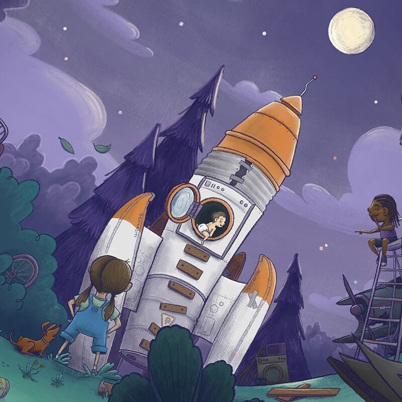 space rocket girls children's book illustration champaign Illinois midwest