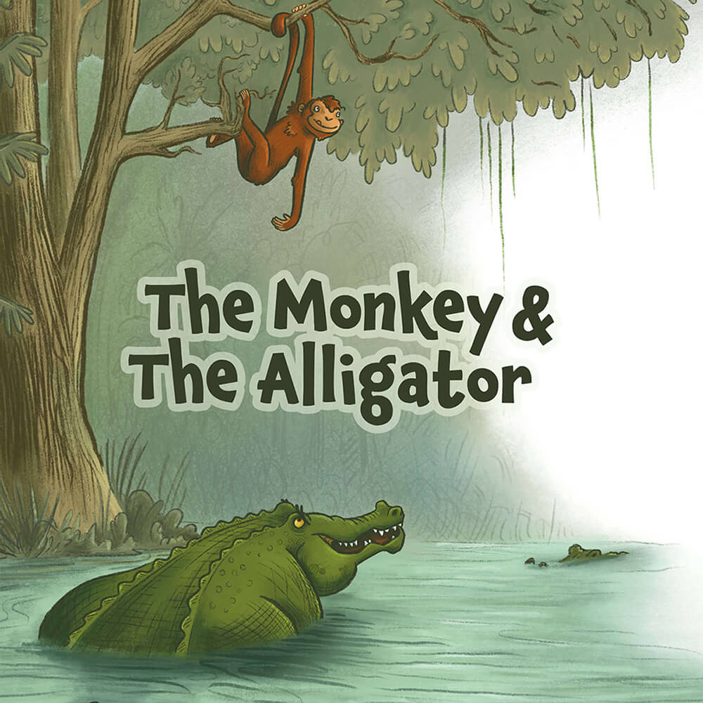 magazine spread illustration jungle animals monkey alligator parable children's book illustration champaign Illinois midwest
