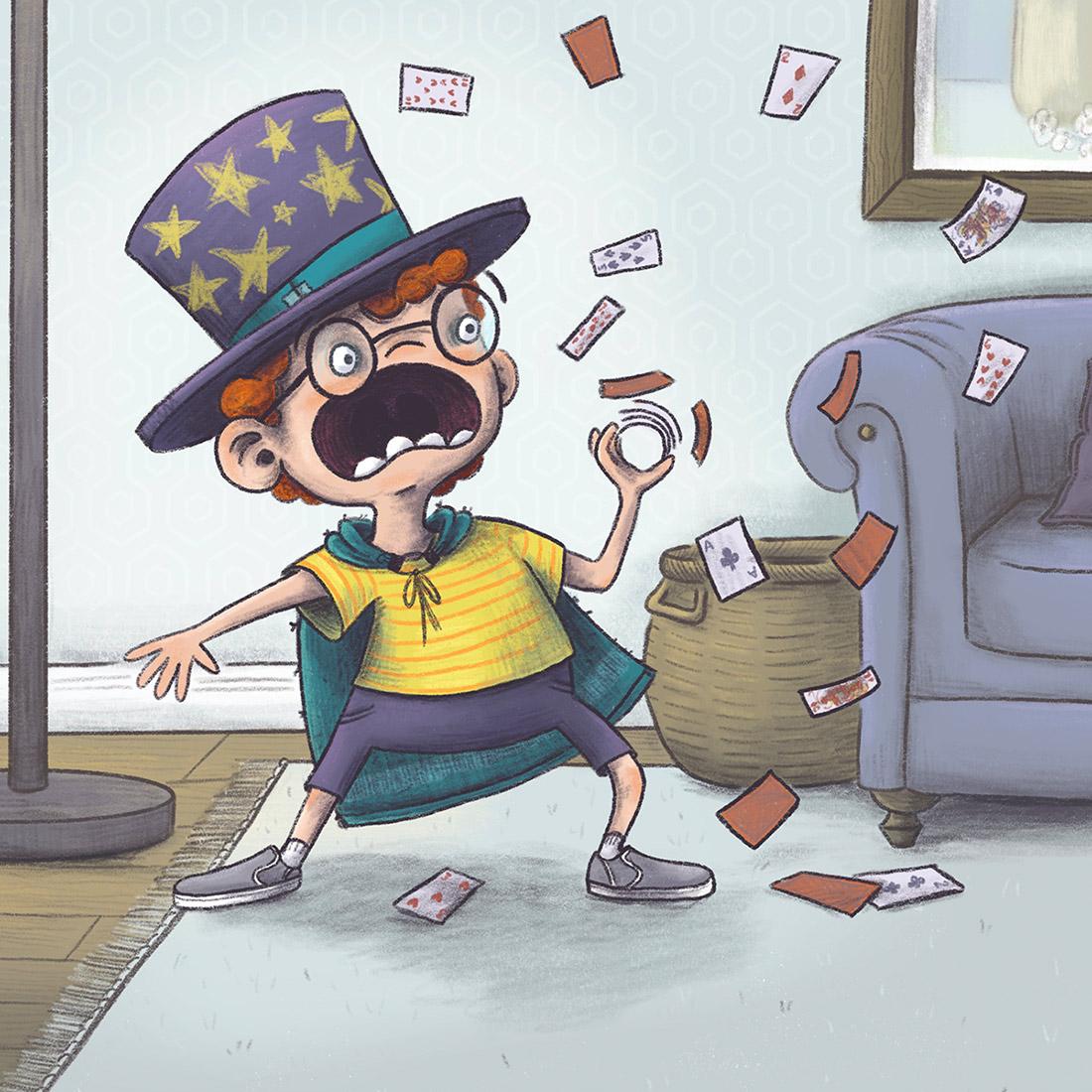 kid magic funny card trick children's book illustration champaign Illinois midwest