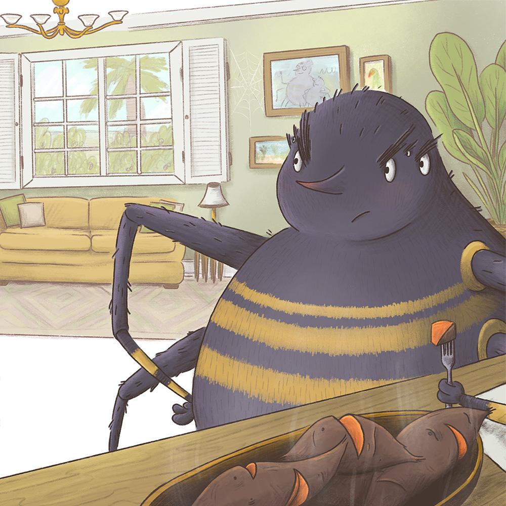 ananci spider fable humor children's book illustration champaign Illinois midwest