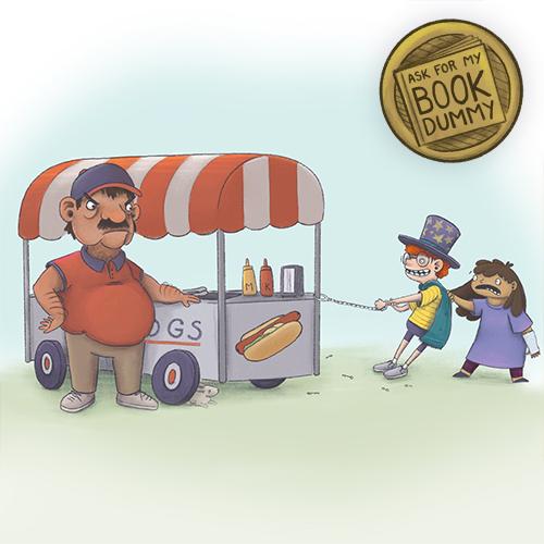 magic kids in trouble hotdog stand art children's book illustration atlanta georgia midwest