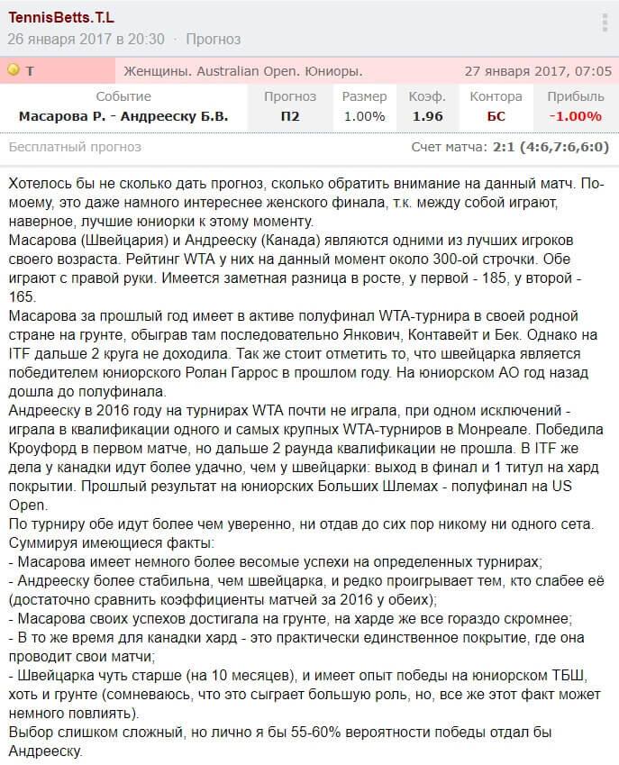 Скриншот статьи о Бьянке Андрееску