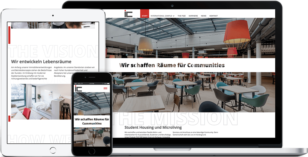 International Campus Webseite auf dem iPad, iPhone und MacBook
