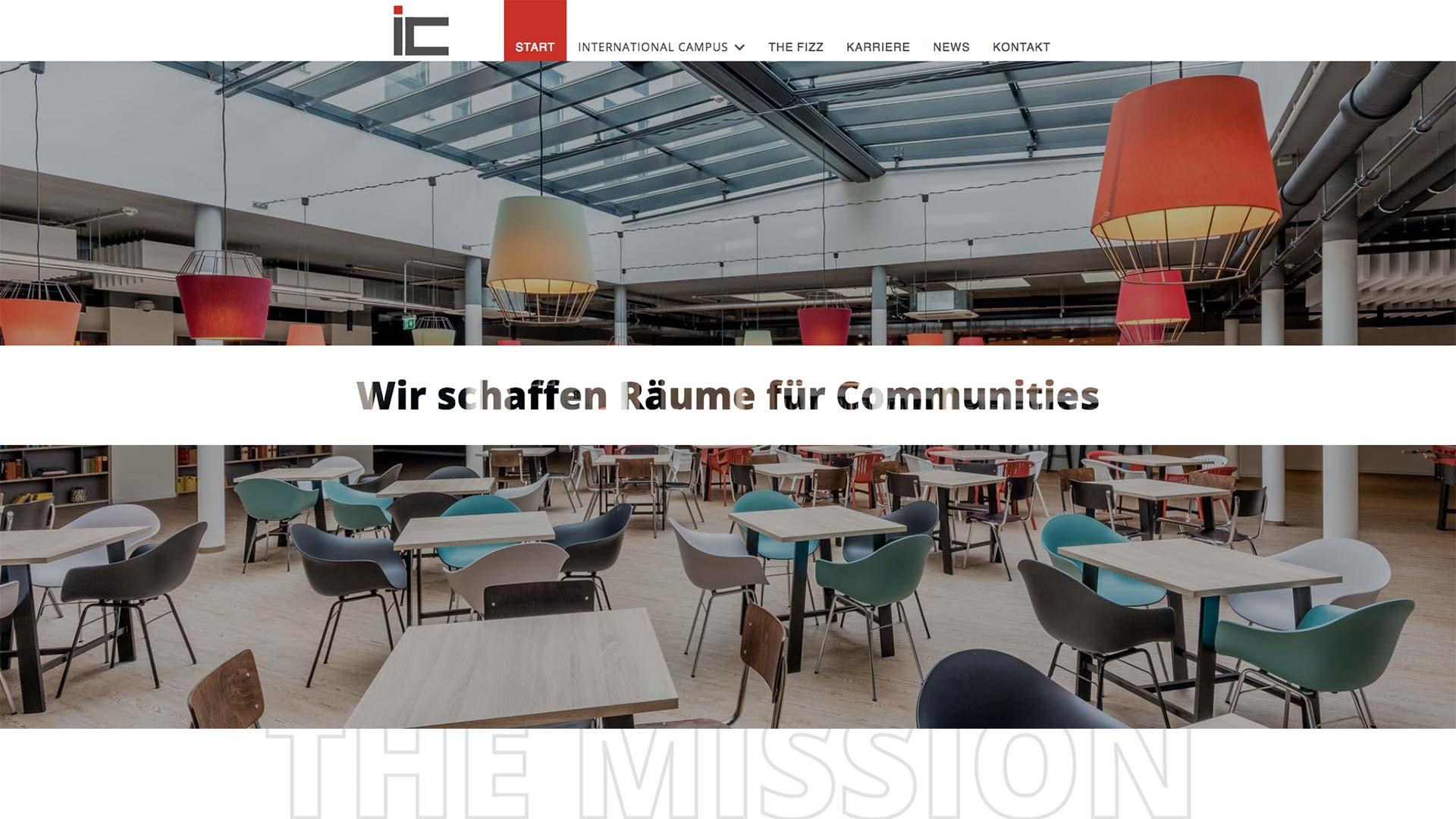 Eröffnungsbereich der Startseite von International Campus