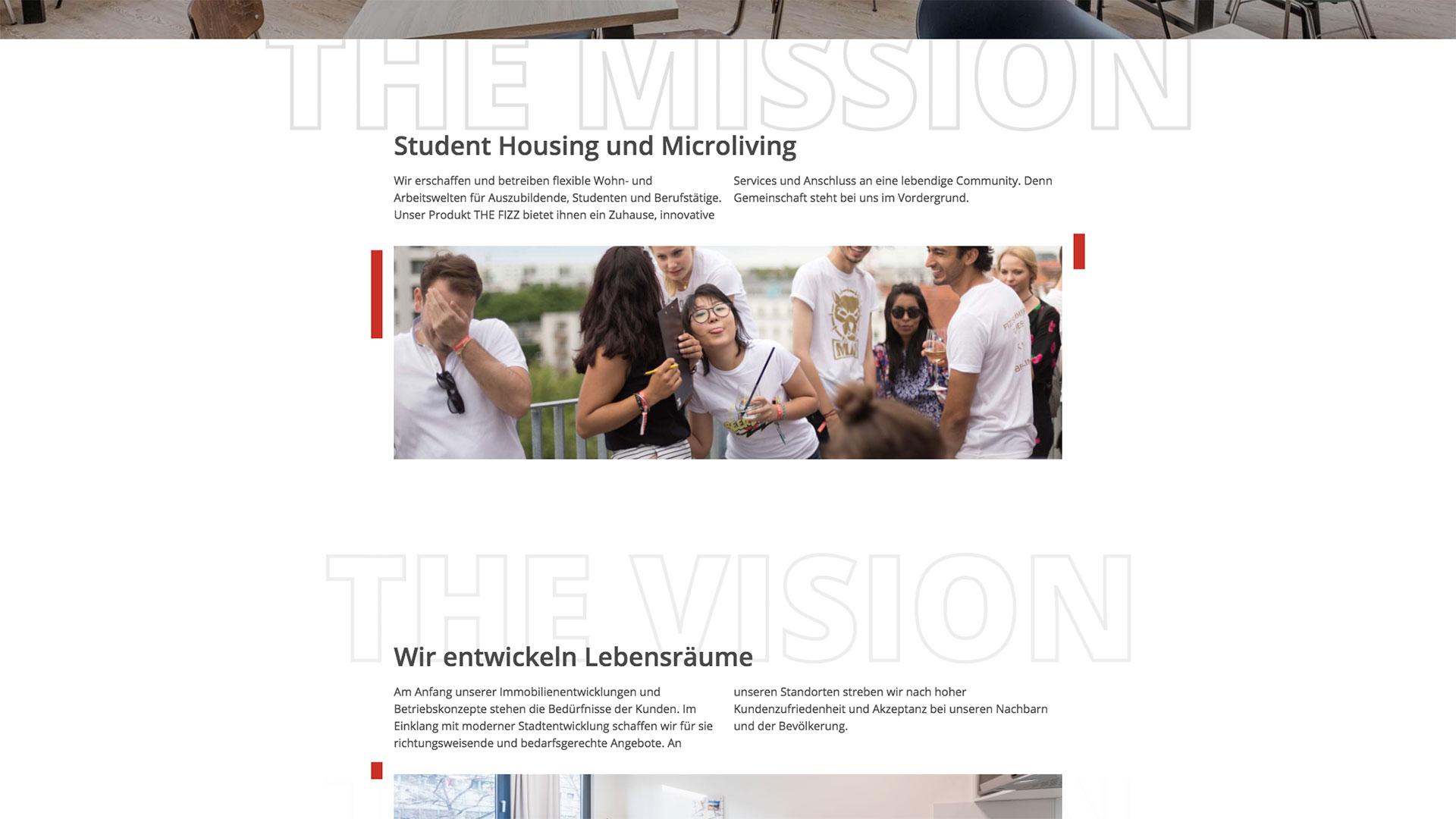 Contentbereich der Startseite von International Campus