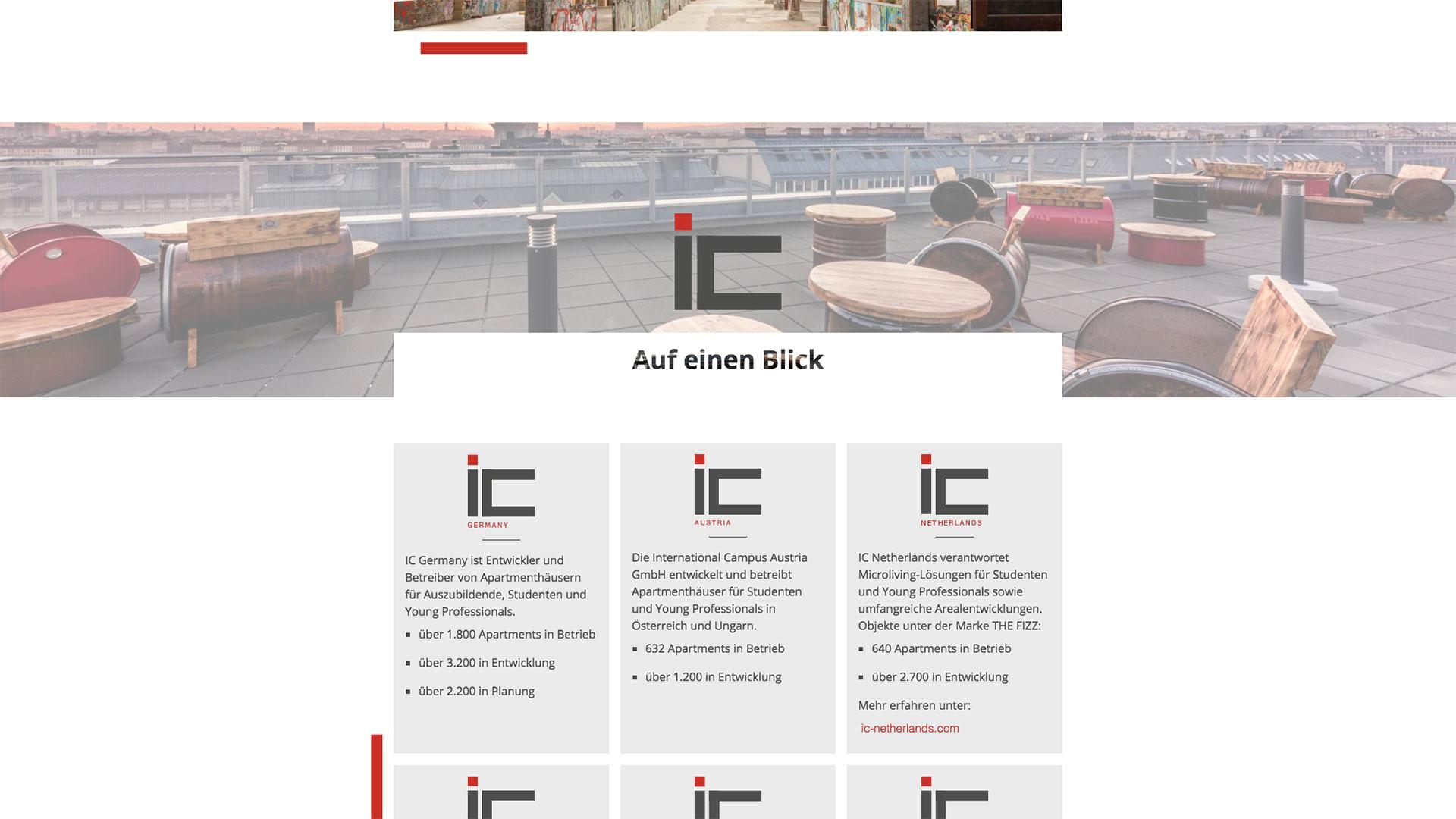 """Bereich """"IC auf einen Blick"""" der Startseite von International Campus"""