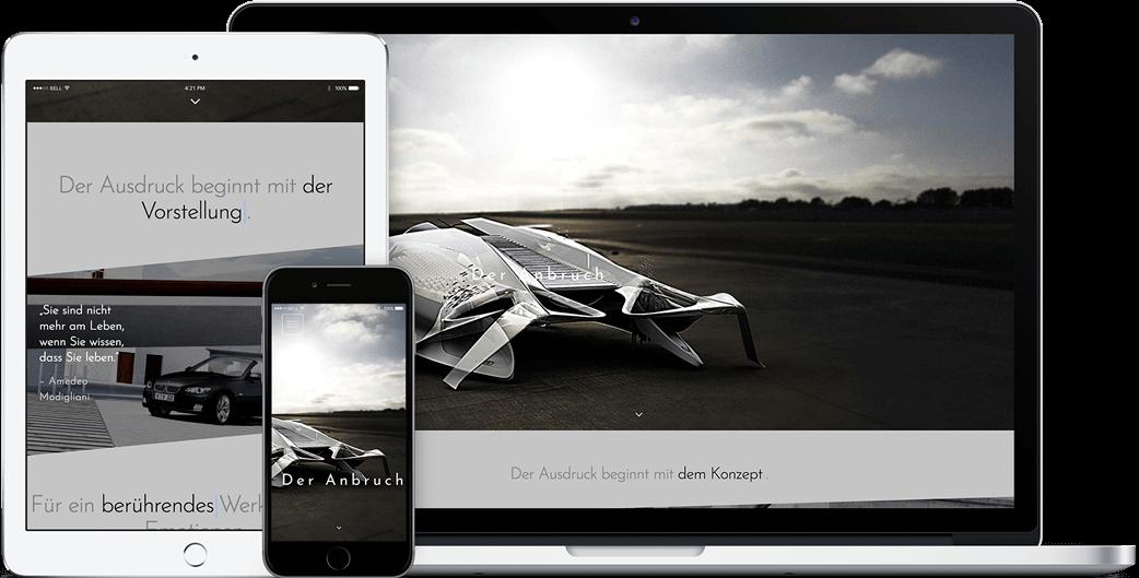Vorschau der 3D Artist Mario Webseite auf dem iPad, iPhone und MacBook