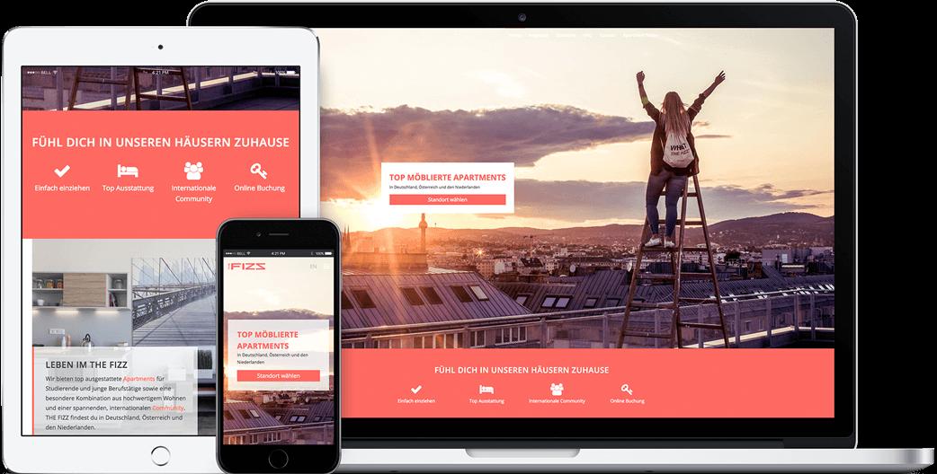 Vorschau der THE FIZZ Webseite auf dem iPad, iPhone und MacBook