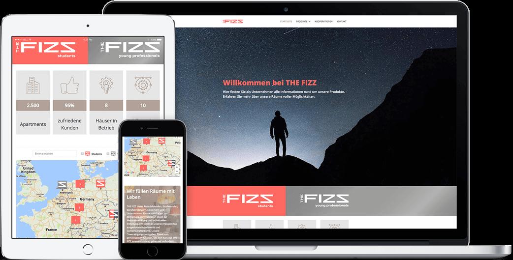 Vorschau der THE FIZZ business Webseite auf dem iPad, iPhone und MacBook