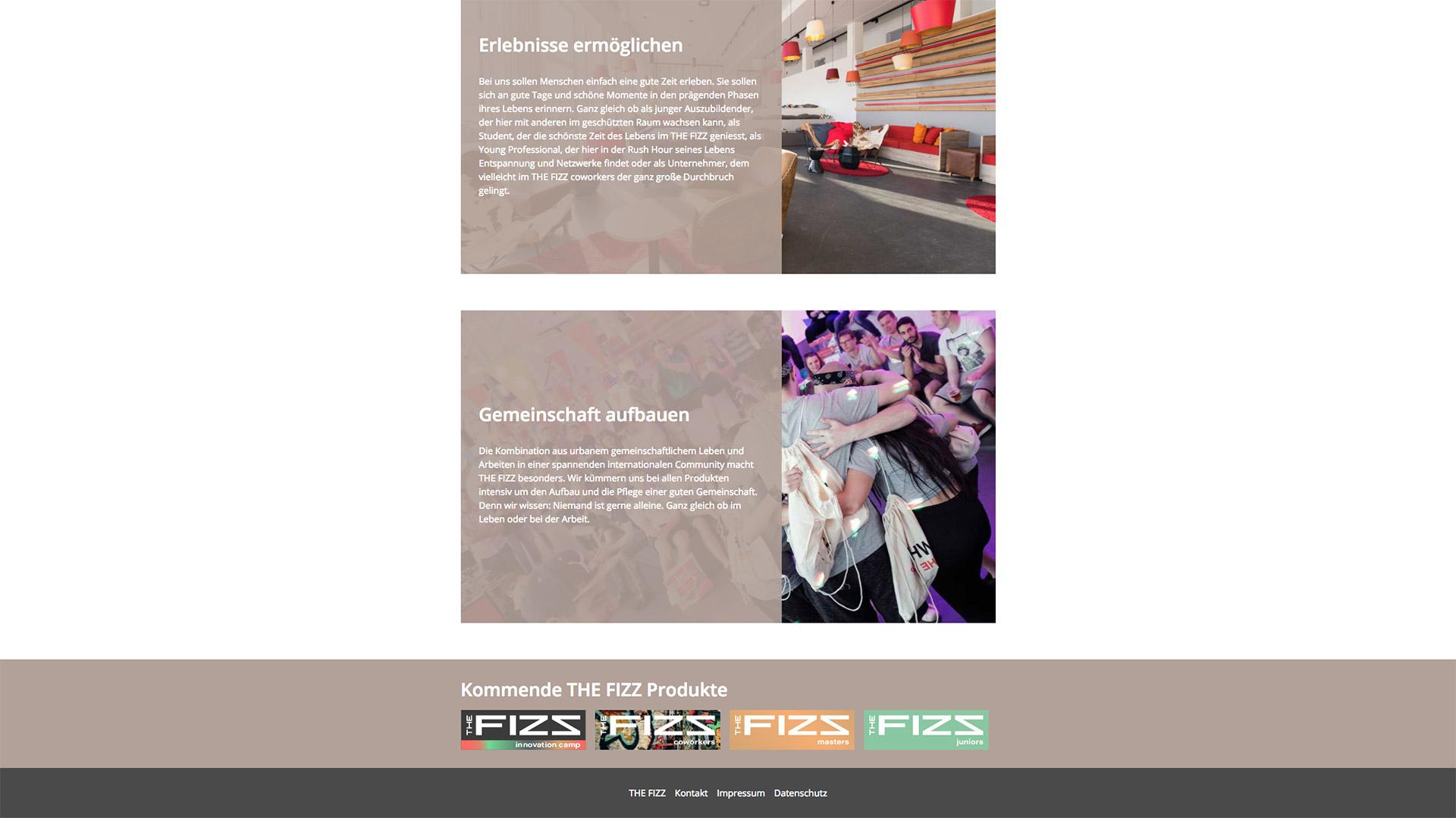 Textliche Inhalte der THE FIZZ business