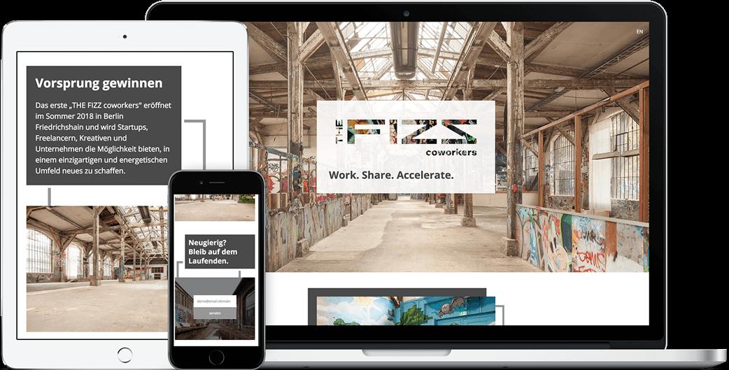 Vorschau der THE FIZZ coworkers Webseite auf dem iPad, iPhone und MacBook