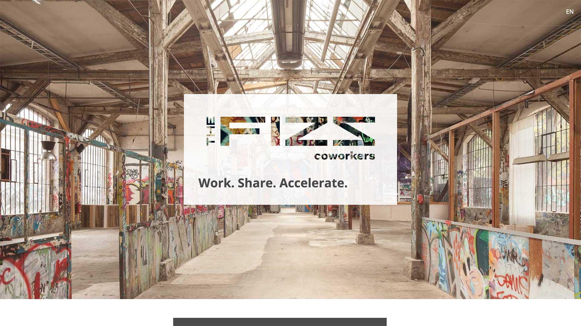 Eröffnungs Section der Startseite von THE FIZZ coworkers